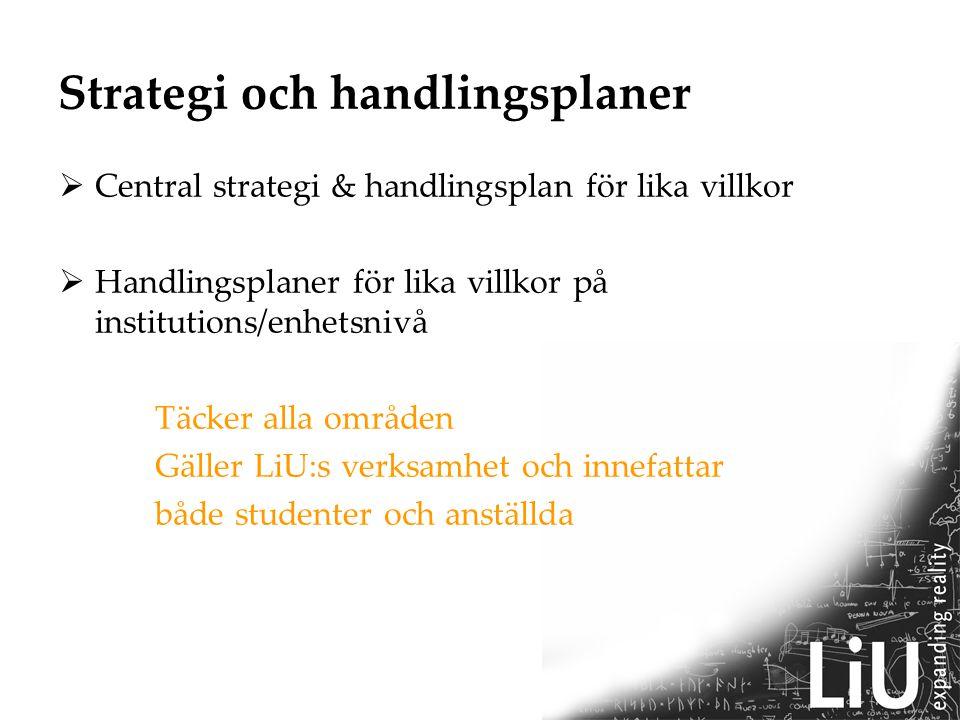 Strategi och handlingsplaner  Central strategi & handlingsplan för lika villkor  Handlingsplaner för lika villkor på institutions/enhetsnivå Täcker