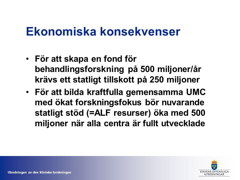 Utredningen av den kliniska forskningen Ekonomiska konsekvenser För att skapa en fond för behandlingsforskning på 500 miljoner/år krävs ett statligt tillskott på 250 miljoner För att bilda kraftfulla gemensamma UMC med ökat forskningsfokus bör nuvarande statligt stöd (=ALF resurser) öka med 500 miljoner när alla centra är fullt utvecklade