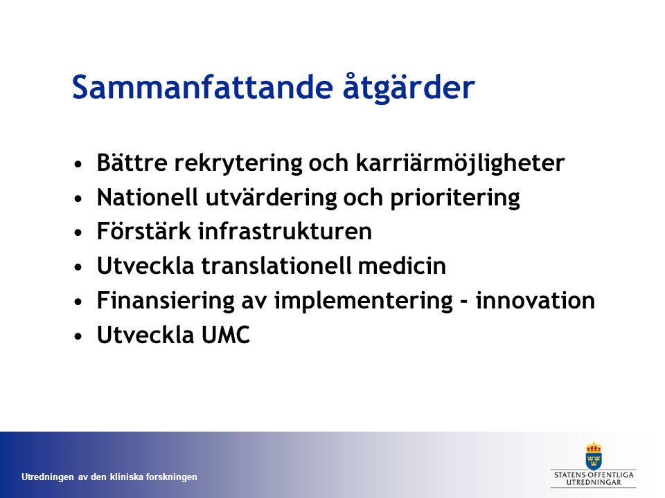Utredningen av den kliniska forskningen Sammanfattande åtgärder Bättre rekrytering och karriärmöjligheter Nationell utvärdering och prioritering Förstärk infrastrukturen Utveckla translationell medicin Finansiering av implementering - innovation Utveckla UMC