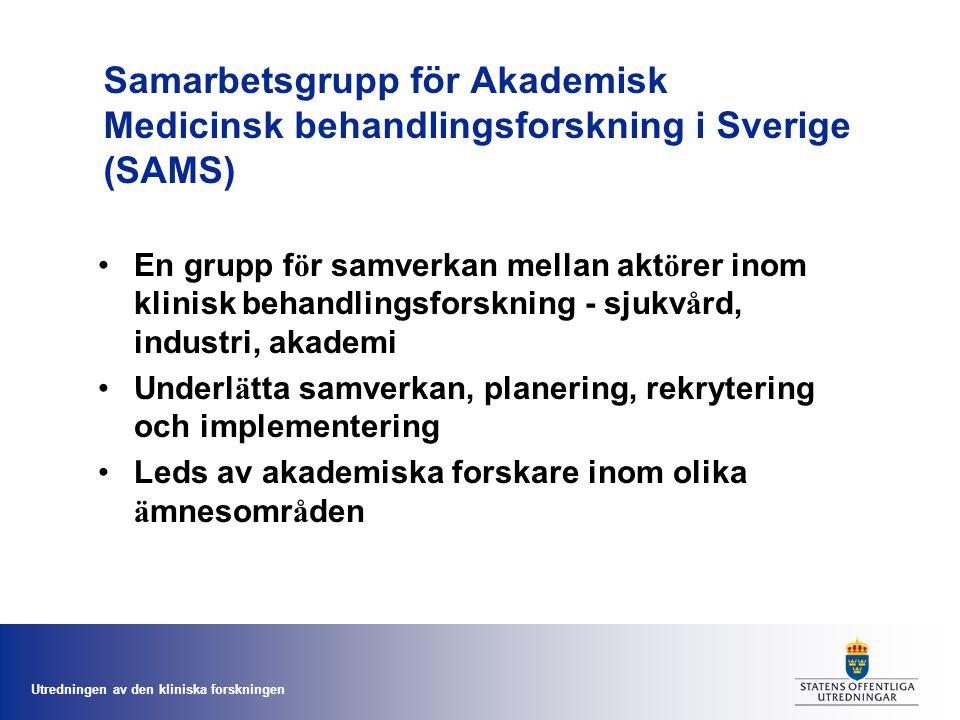 Utredningen av den kliniska forskningen Samarbetsgrupp för Akademisk Medicinsk behandlingsforskning i Sverige (SAMS) En grupp f ö r samverkan mellan akt ö rer inom klinisk behandlingsforskning - sjukv å rd, industri, akademi Underl ä tta samverkan, planering, rekrytering och implementering Leds av akademiska forskare inom olika ä mnesomr å den