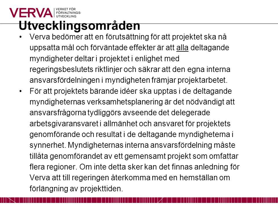 Utvecklingsområden Verva bedömer att en förutsättning för att projektet ska nå uppsatta mål och förväntade effekter är att alla deltagande myndigheter deltar i projektet i enlighet med regeringsbeslutets riktlinjer och säkrar att den egna interna ansvarsfördelningen i myndigheten främjar projektarbetet.