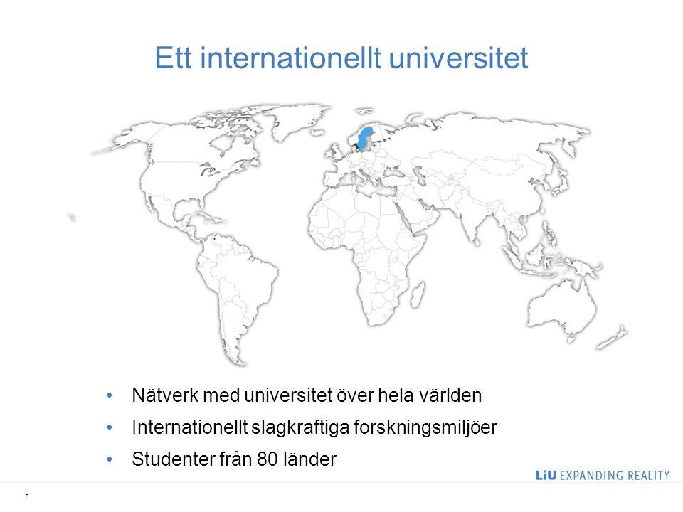 Ett internationellt universitet Nätverk med universitet över hela världen Internationellt slagkraftiga forskningsmiljöer Studenter från 80 länder 6
