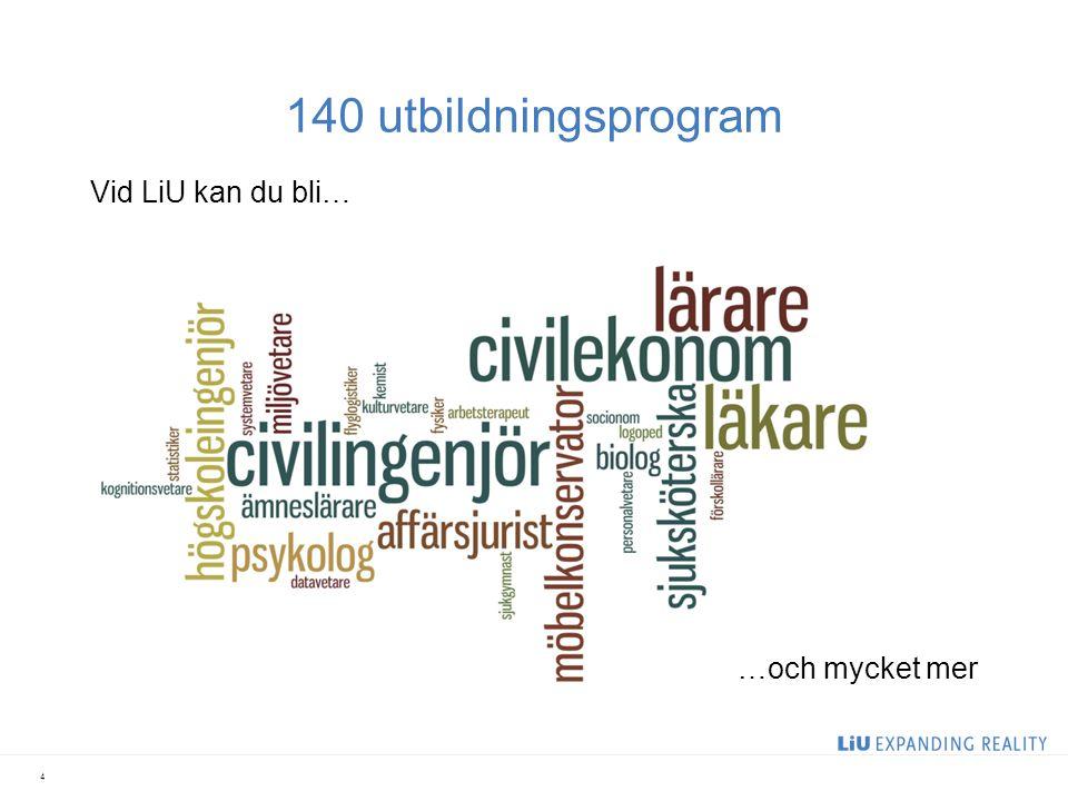 140 utbildningsprogram Vid LiU kan du bli… 4 …och mycket mer