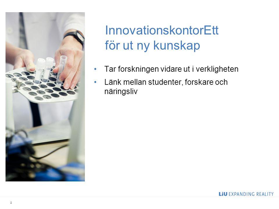 InnovationskontorEtt för ut ny kunskap Tar forskningen vidare ut i verkligheten Länk mellan studenter, forskare och näringsliv 2