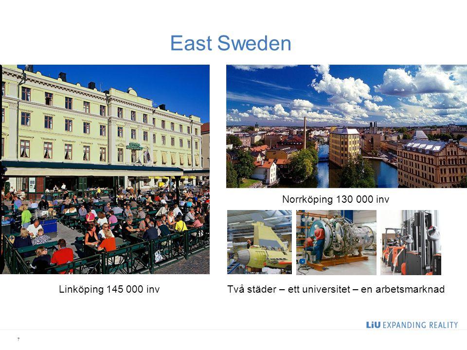 7 East Sweden Linköping 145 000 inv Norrköping 130 000 inv Två städer – ett universitet – en arbetsmarknad