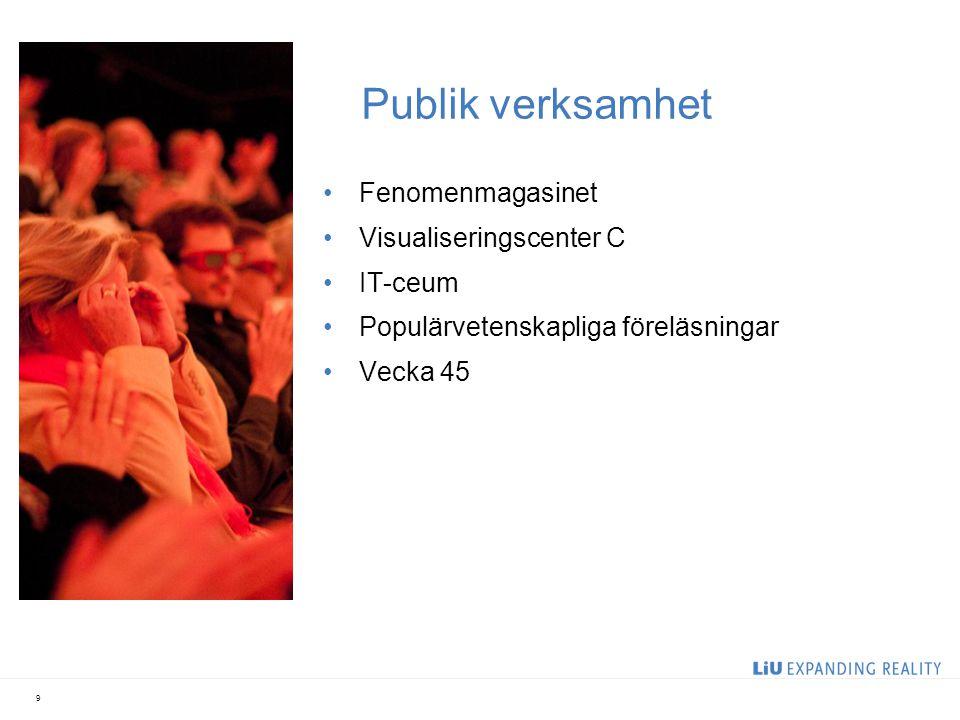 Publik verksamhet Fenomenmagasinet Visualiseringscenter C IT-ceum Populärvetenskapliga föreläsningar Vecka 45 9