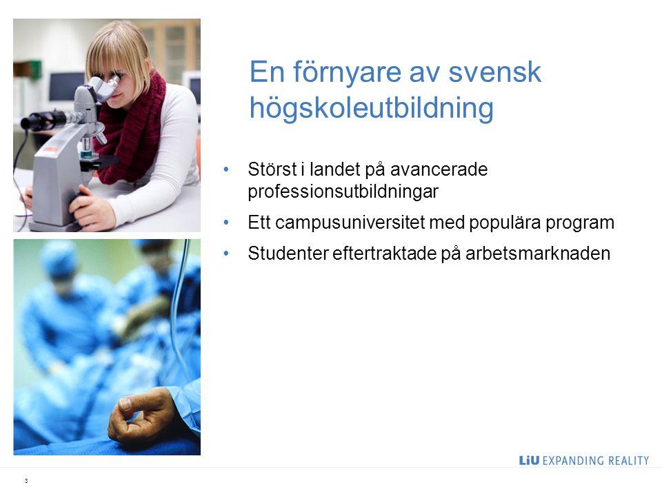 En förnyare av svensk högskoleutbildning Störst i landet på avancerade professionsutbildningar Ett campusuniversitet med populära program Studenter ef