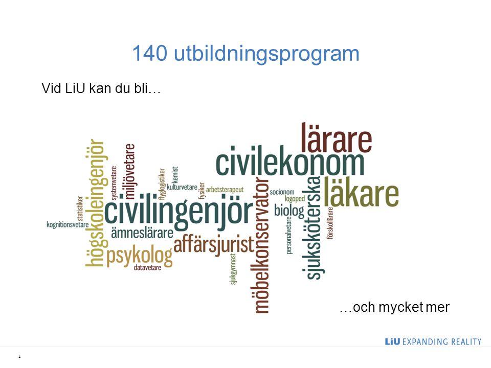 Nöjda internationella studenter Bland 200 universitet placerar internationella studenter LiU som ett av de tio bästa inom: Helhetsintryck Laboratorier Bibliotek Utbildningslokaler Internettillgång Miljövänlig attityd Säkerhet 5 (International Student Barometer 2010)