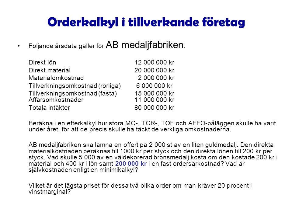 Orderkalkyl i tillverkande företag Följande årsdata gäller för AB medaljfabriken : Direkt lön12 000 000 kr Direkt material20 000 000 kr Materialomkost