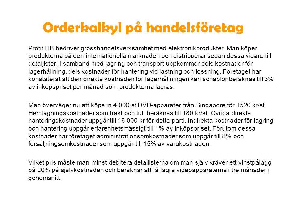 Orderkalkyl på handelsföretag Profit HB bedriver grosshandelsverksamhet med elektronikprodukter. Man köper produkterna på den internationella marknade