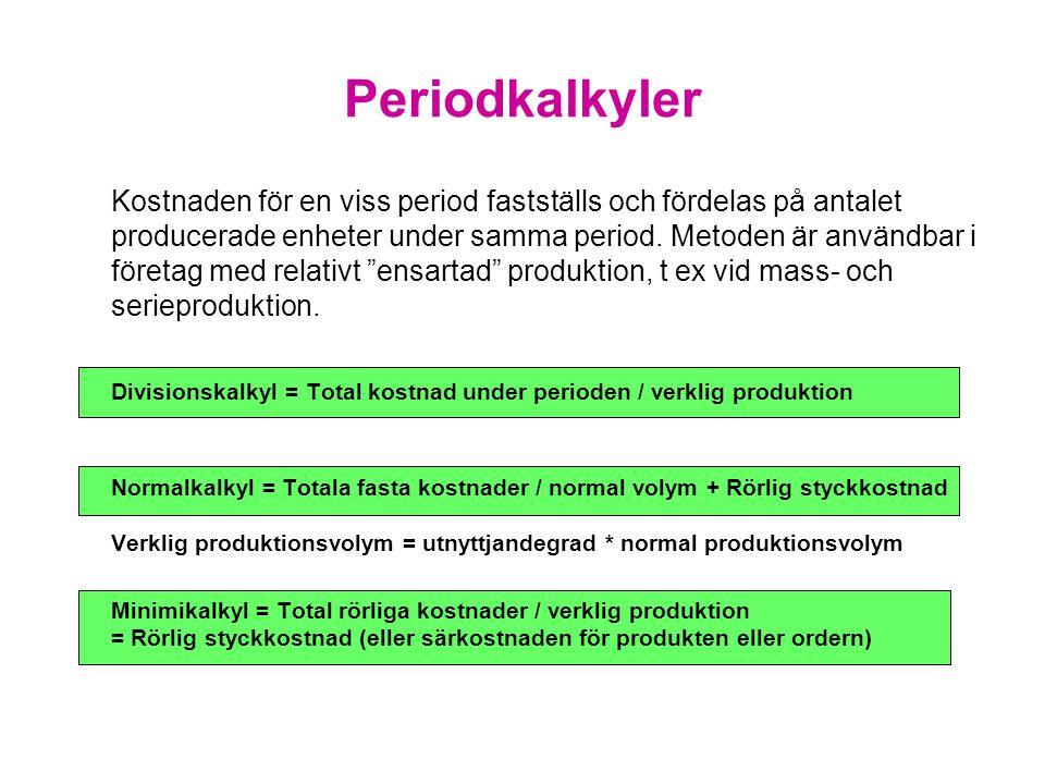 Periodkalkyler Kostnaden för en viss period fastställs och fördelas på antalet producerade enheter under samma period. Metoden är användbar i företag