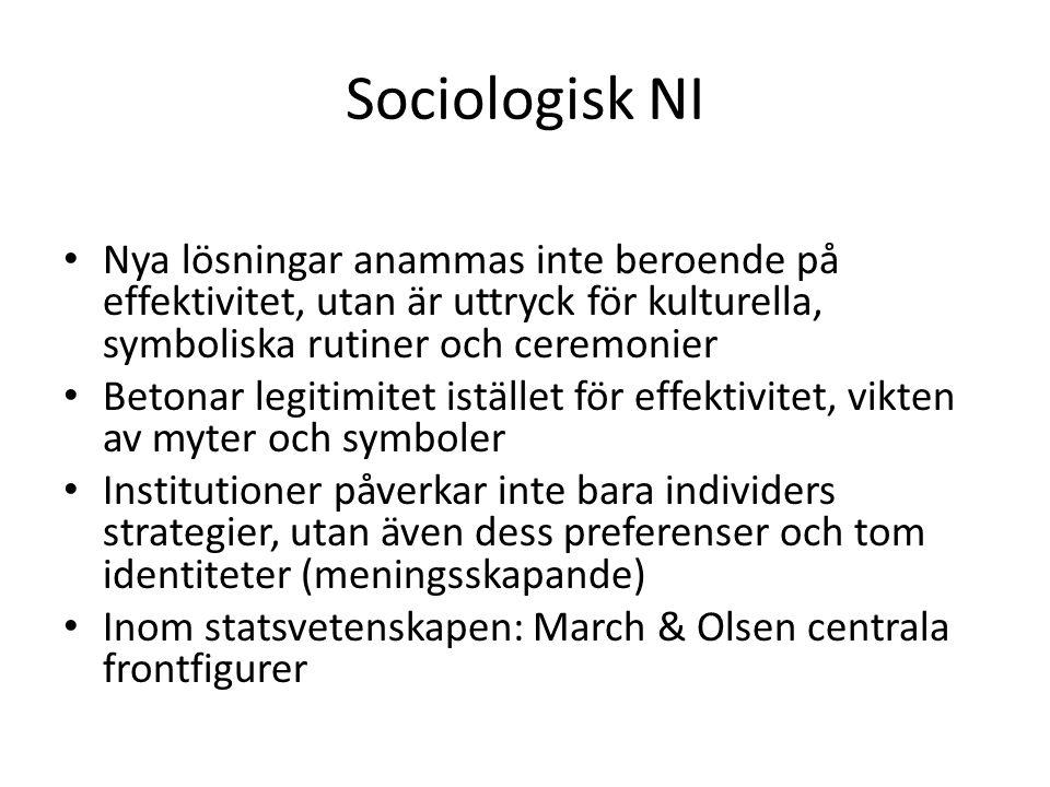 Sociologisk NI Nya lösningar anammas inte beroende på effektivitet, utan är uttryck för kulturella, symboliska rutiner och ceremonier Betonar legitimi
