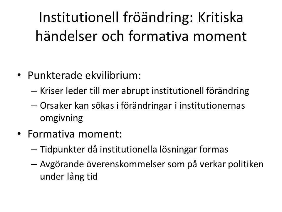 Institutionell fröändring: Kritiska händelser och formativa moment Punkterade ekvilibrium: – Kriser leder till mer abrupt institutionell förändring –
