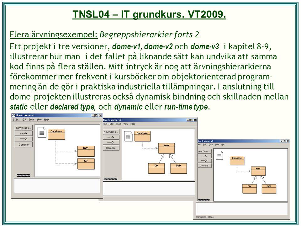TNSL04 – IT grundkurs. VT2009. Flera ärvningsexempel: Begreppshierarkier forts 2 Ett projekt i tre versioner, dome-v1, dome-v2 och dome-v3 i kapitel 8