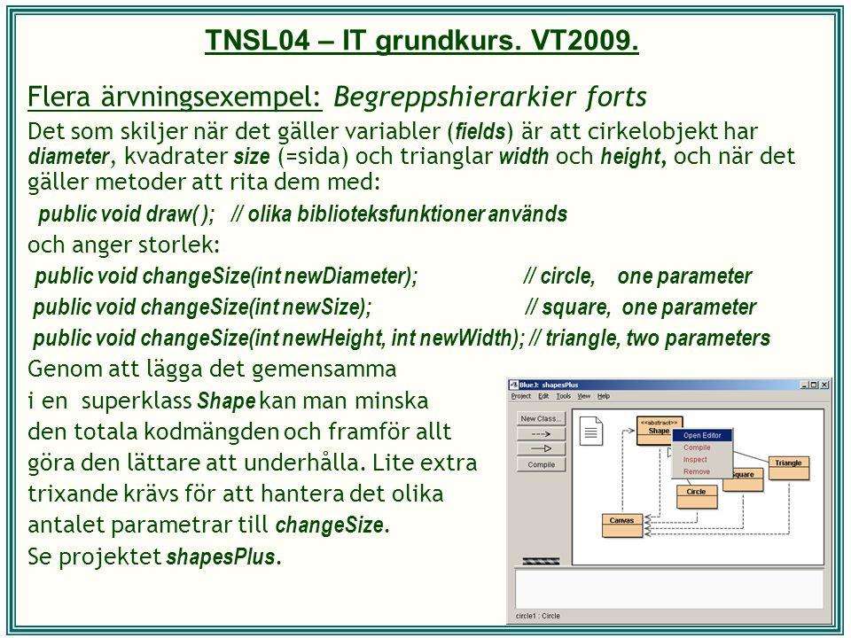 TNSL04 – IT grundkurs. VT2009. Flera ärvningsexempel: Begreppshierarkier forts Det som skiljer när det gäller variabler ( fields ) är att cirkelobjekt