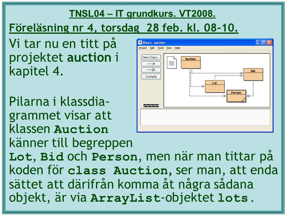 TNSL04 – IT grundkurs. VT2008. Föreläsning nr 4, torsdag 28 feb. kl. 08-10. Vi tar nu en titt på projektet auction i kapitel 4. Pilarna i klassdia- gr