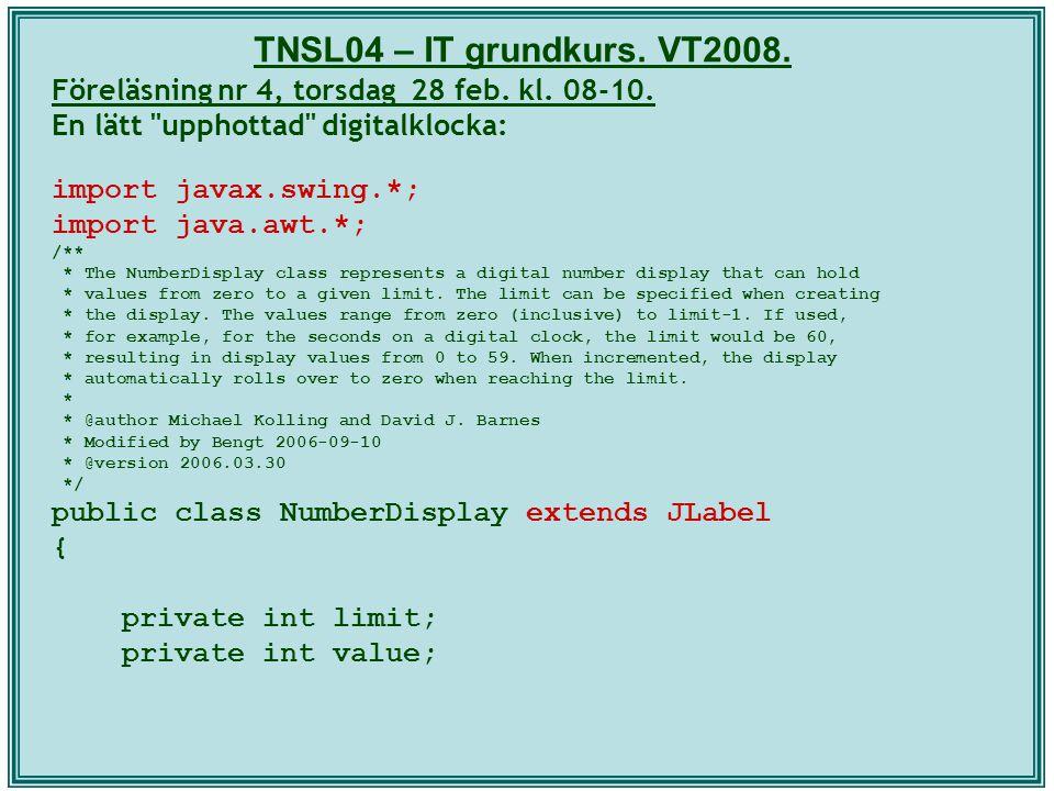 TNSL04 – IT grundkurs. VT2008. Föreläsning nr 4, torsdag 28 feb. kl. 08-10. En lätt