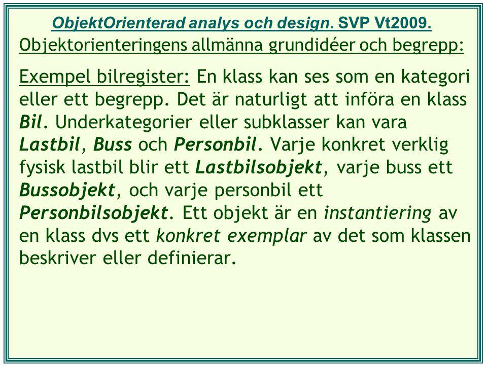 ObjektOrienterad analys och design. SVP Vt2009.