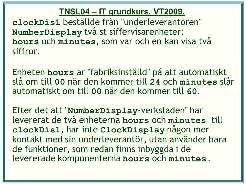 TNSL04 – IT grundkurs. VT2009. clockDis1 beställde från
