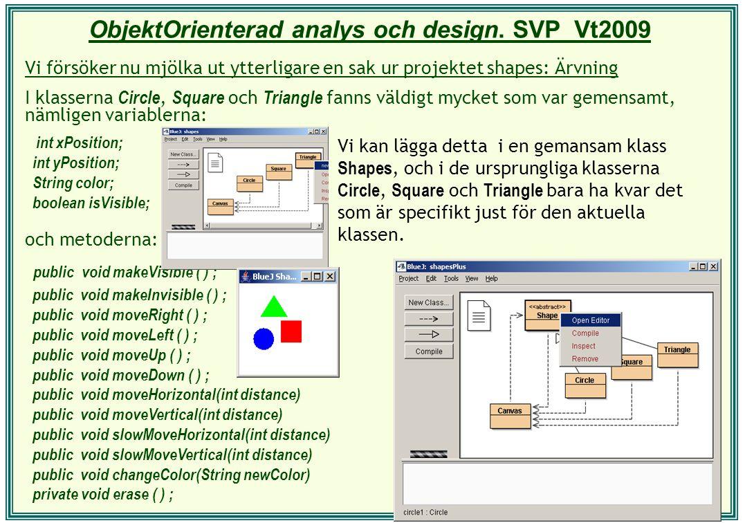 ObjektOrienterad analys och design. SVP Vt2009 Vi försöker nu mjölka ut ytterligare en sak ur projektet shapes: Ärvning I klasserna Circle, Square och