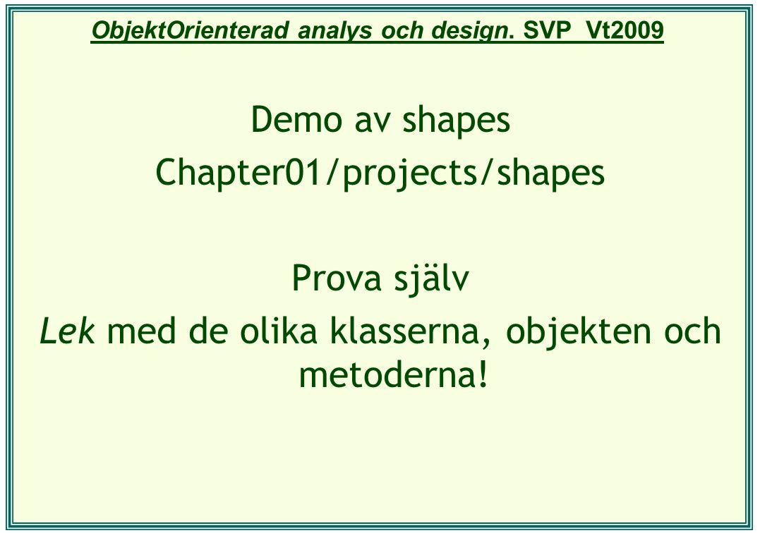 ObjektOrienterad analys och design. SVP Vt2009 Demo av shapes Chapter01/projects/shapes Prova själv Lek med de olika klasserna, objekten och metoderna