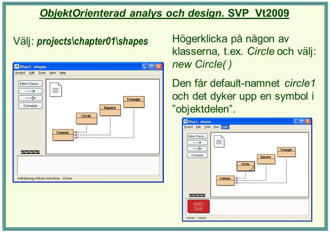 ObjektOrienterad analys och design. SVP Vt2009 Välj: projects\chapter01\shapes Högerklicka på någon av klasserna, t.ex. Circle och välj: new Circle( )