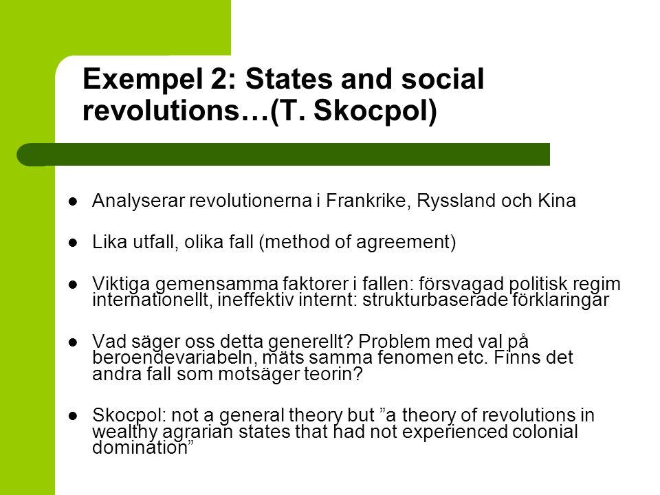 Exempel 2: States and social revolutions…(T. Skocpol) Analyserar revolutionerna i Frankrike, Ryssland och Kina Lika utfall, olika fall (method of agre