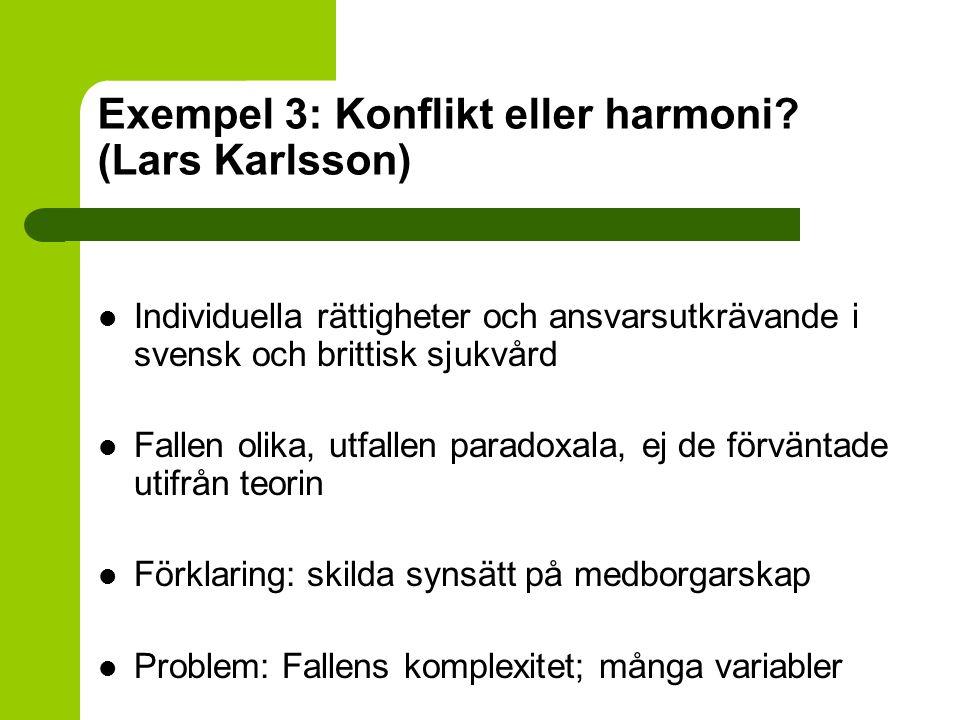 Exempel 3: Konflikt eller harmoni? (Lars Karlsson) Individuella rättigheter och ansvarsutkrävande i svensk och brittisk sjukvård Fallen olika, utfalle