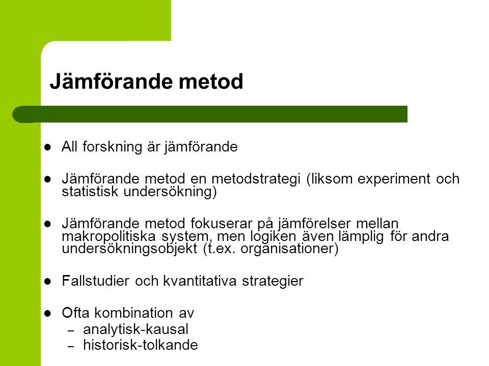 Jämförande metod All forskning är jämförande Jämförande metod en metodstrategi (liksom experiment och statistisk undersökning) Jämförande metod fokuse
