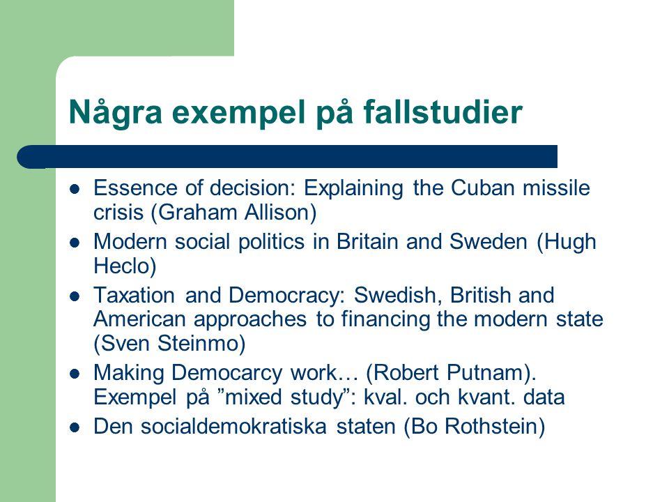 Några exempel på fallstudier Essence of decision: Explaining the Cuban missile crisis (Graham Allison) Modern social politics in Britain and Sweden (H