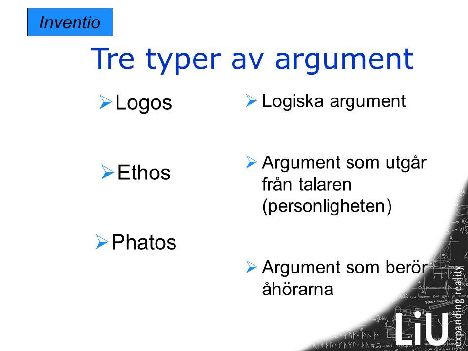 Tre typer av argument Inventio  Logos  Ethos  Phatos  Logiska argument  Argument som utgår från talaren (personligheten)  Argument som berör åhö