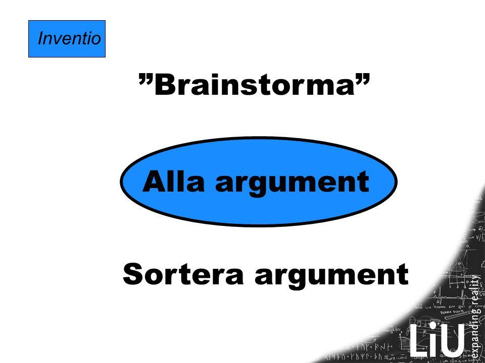 """Inventio """"Brainstorma"""" Alla argument Sortera argument"""