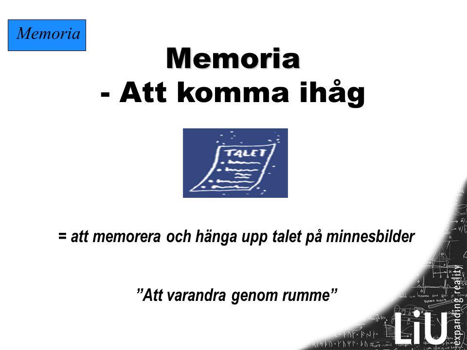 """Memoria - Att komma ihåg = att memorera och hänga upp talet på minnesbilder """"Att varandra genom rumme"""" Memoria"""
