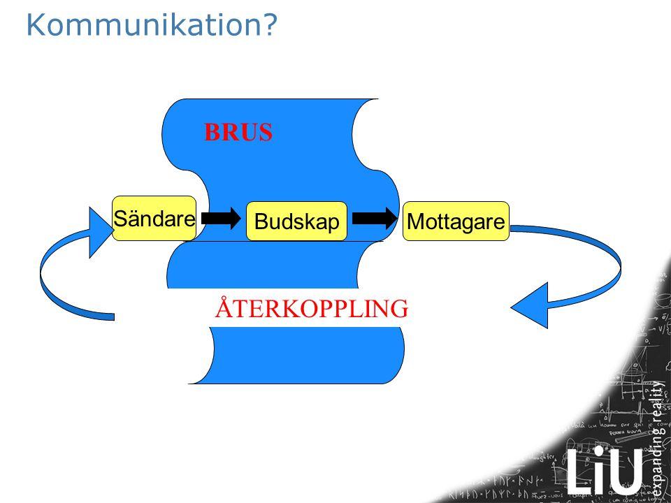 Kommunikation? Sändare BudskapMottagare BRUS ÅTERKOPPLING