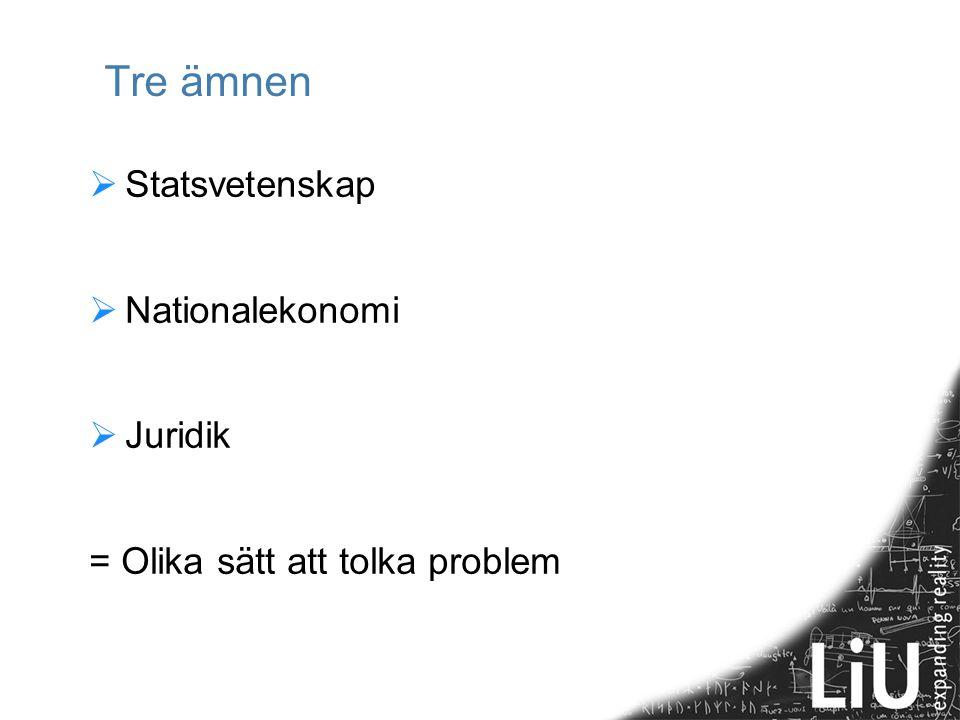 Tre ämnen  Statsvetenskap  Nationalekonomi  Juridik = Olika sätt att tolka problem