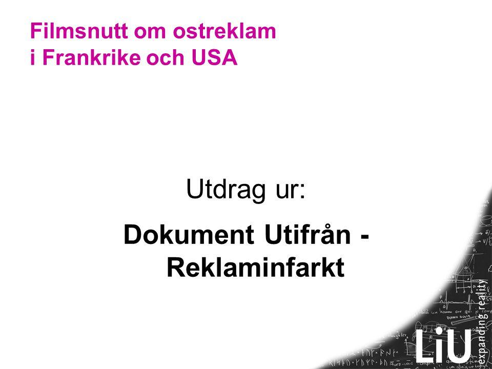 Ostreklamens diskurser Diskurs : Kontext: Text: Osten lever Osten är död.