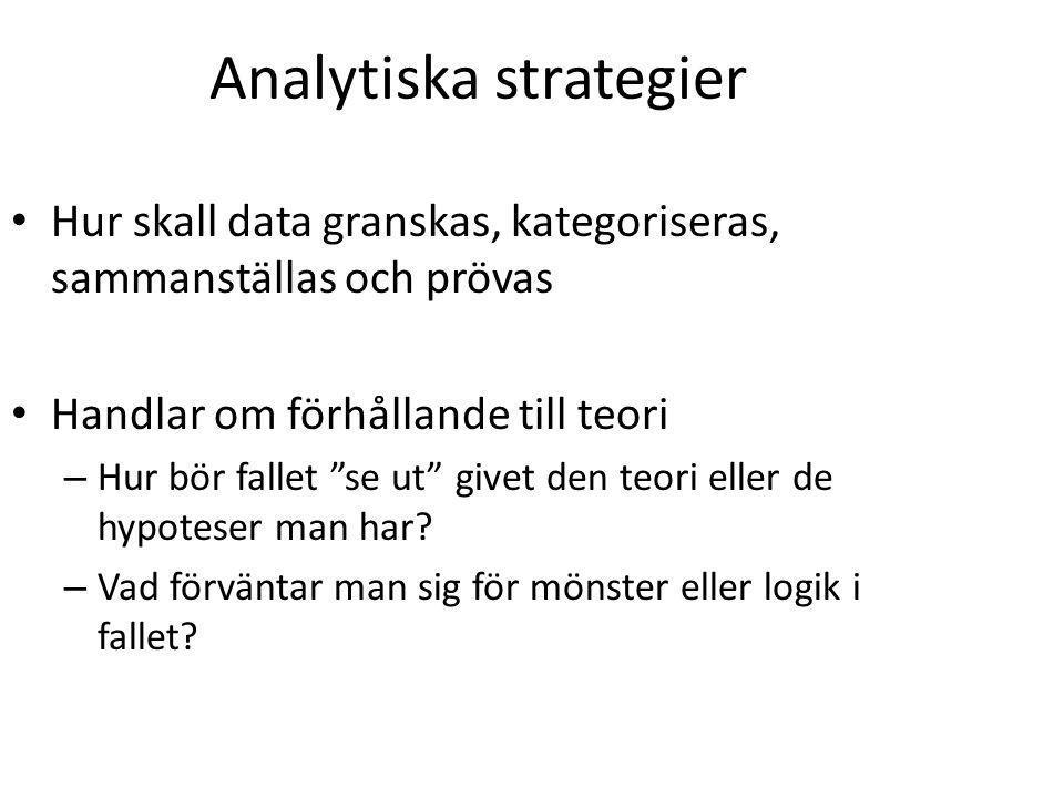 Analytiska strategier Hur skall data granskas, kategoriseras, sammanställas och prövas Handlar om förhållande till teori – Hur bör fallet se ut givet den teori eller de hypoteser man har.
