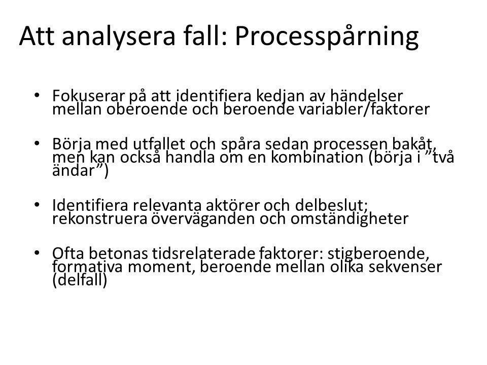 Att analysera fall: Processpårning Fokuserar på att identifiera kedjan av händelser mellan oberoende och beroende variabler/faktorer Börja med utfallet och spåra sedan processen bakåt, men kan också handla om en kombination (börja i två ändar ) Identifiera relevanta aktörer och delbeslut; rekonstruera överväganden och omständigheter Ofta betonas tidsrelaterade faktorer: stigberoende, formativa moment, beroende mellan olika sekvenser (delfall)