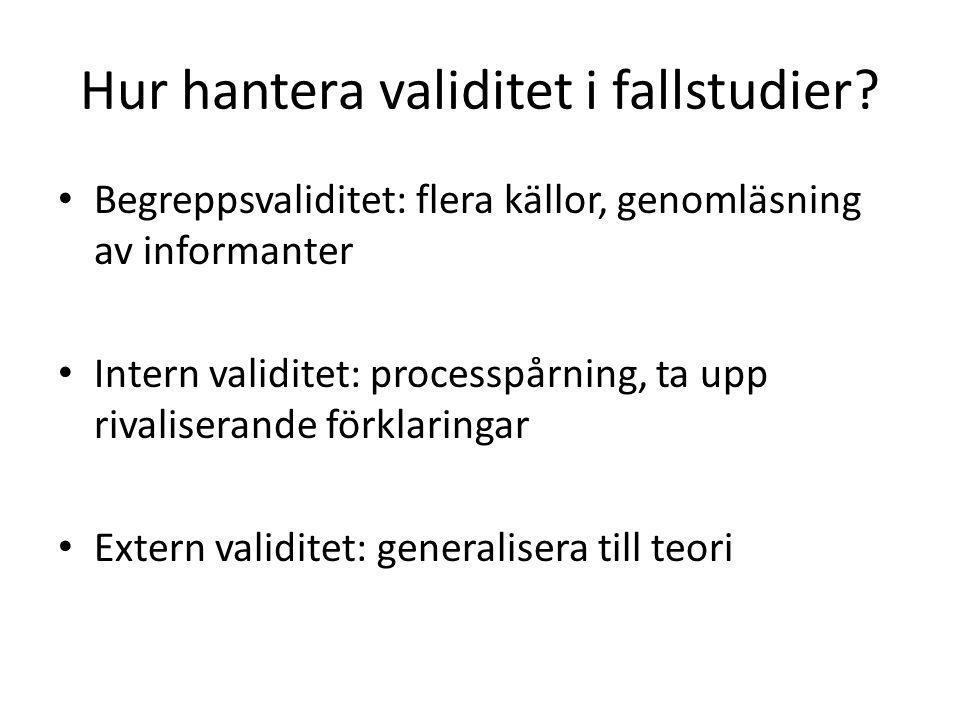 Hur hantera validitet i fallstudier.