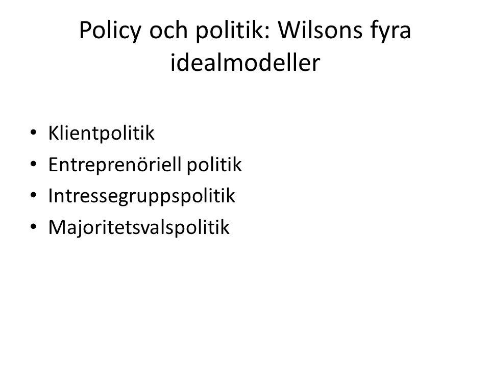 Policy och politik: Wilsons fyra idealmodeller Klientpolitik Entreprenöriell politik Intressegruppspolitik Majoritetsvalspolitik