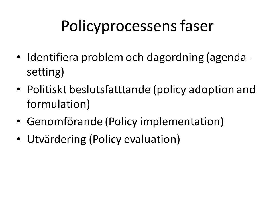 Identifiera problem och dagordning (agenda- setting) Politiskt beslutsfatttande (policy adoption and formulation) Genomförande (Policy implementation)