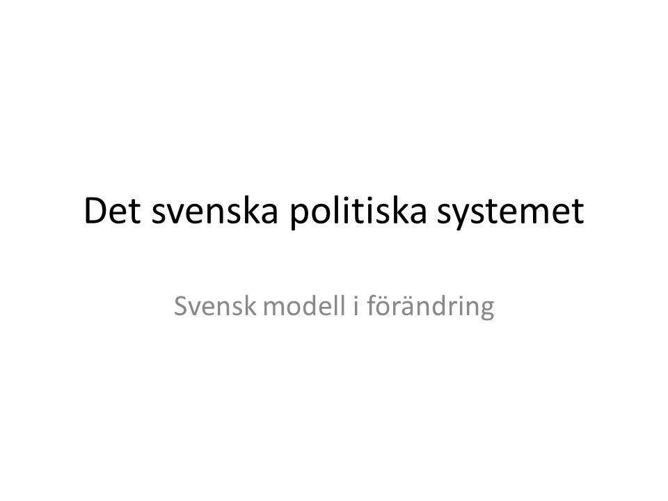 Det svenska politiska systemet Svensk modell i förändring
