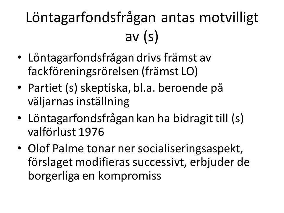 Löntagarfondsfrågan antas motvilligt av (s) Löntagarfondsfrågan drivs främst av fackföreningsrörelsen (främst LO) Partiet (s) skeptiska, bl.a.