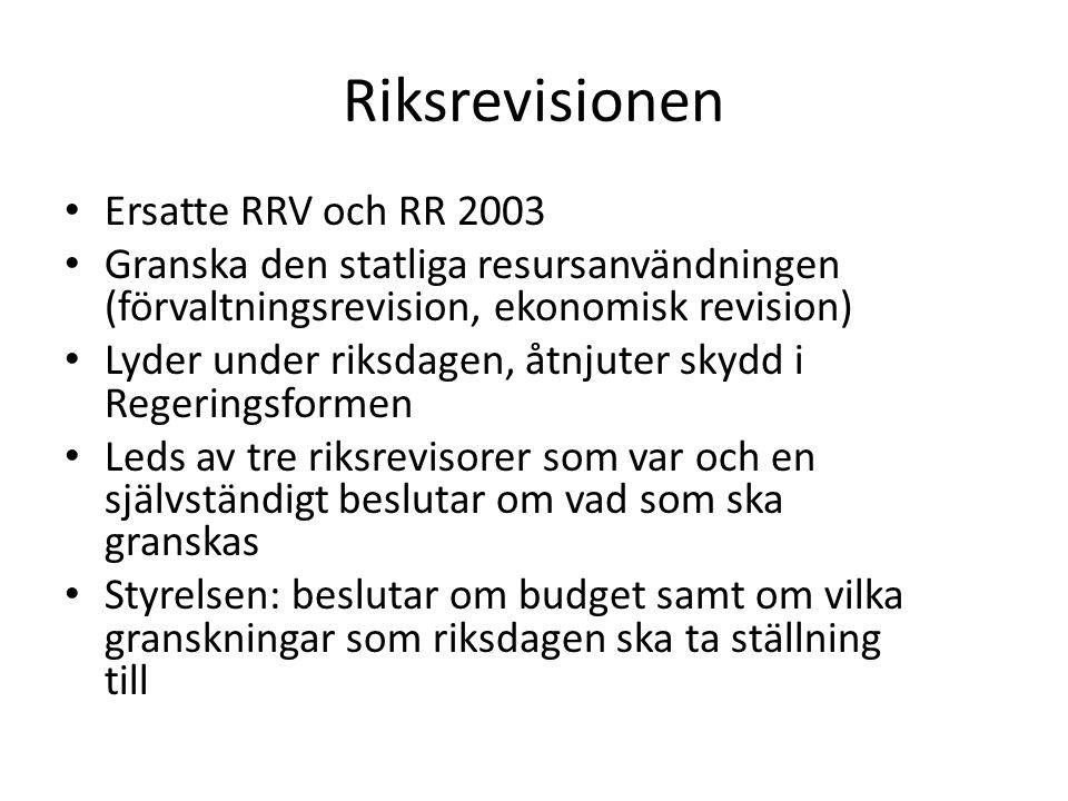 Riksrevisionen Ersatte RRV och RR 2003 Granska den statliga resursanvändningen (förvaltningsrevision, ekonomisk revision) Lyder under riksdagen, åtnju