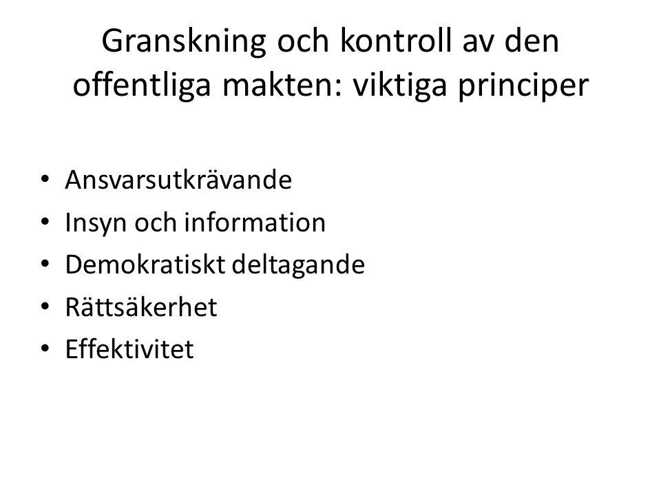 Granskning och kontroll av den offentliga makten: viktiga principer Ansvarsutkrävande Insyn och information Demokratiskt deltagande Rättsäkerhet Effek