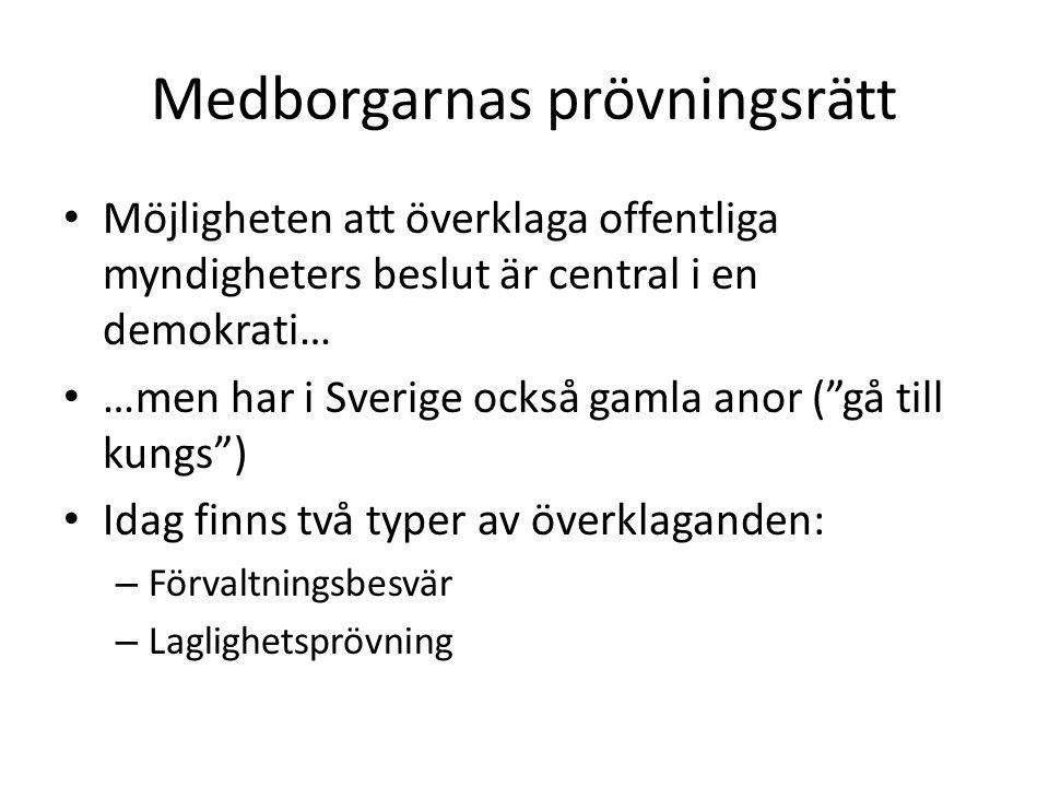 """Medborgarnas prövningsrätt Möjligheten att överklaga offentliga myndigheters beslut är central i en demokrati… …men har i Sverige också gamla anor (""""g"""