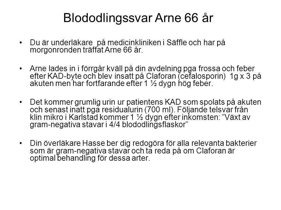Blododlingssvar Arne 66 år Du är underläkare på medicinkliniken i Säffle och har på morgonronden träffat Arne 66 år. Arne lades in i förrgår kväll på