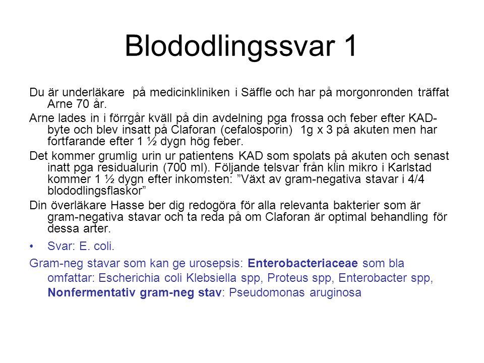 Blododlingssvar 1 Du är underläkare på medicinkliniken i Säffle och har på morgonronden träffat Arne 70 år. Arne lades in i förrgår kväll på din avdel