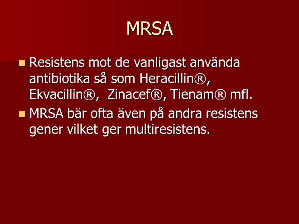 MRSA Resistens mot de vanligast använda antibiotika så som Heracillin®, Ekvacillin®, Zinacef®, Tienam® mfl.