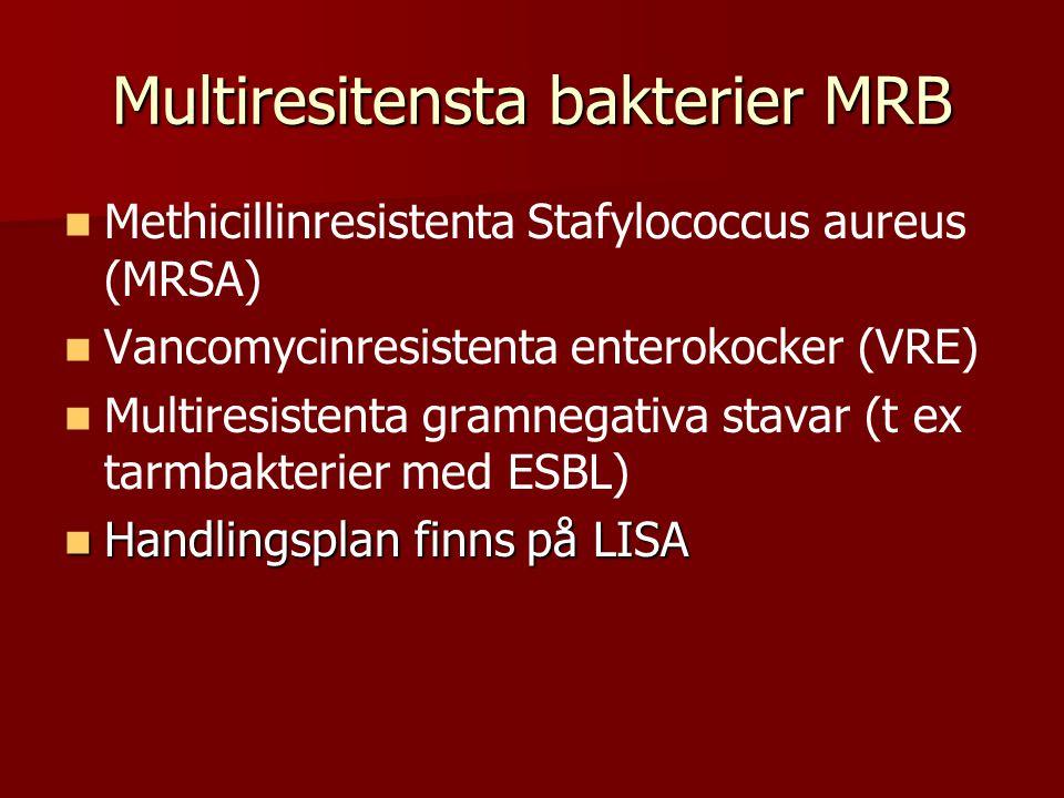Multiresitensta bakterier MRB Methicillinresistenta Stafylococcus aureus (MRSA) Vancomycinresistenta enterokocker (VRE) Multiresistenta gramnegativa stavar (t ex tarmbakterier med ESBL) Handlingsplan finns på LISA Handlingsplan finns på LISA